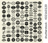 100 Labels and Logotypes design set. Retro Typography, Premium Quality design. Badges, Logos, Borders, Arrows, Ribbons, Icons. | Shutterstock vector #432163120