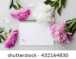 beautiful pink and white peony... | Shutterstock . vector #432164830