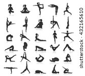 yoga postures exercises icons... | Shutterstock .eps vector #432165610