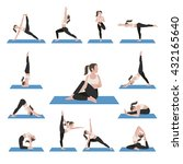 yoga postures exercises set.... | Shutterstock .eps vector #432165640