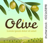 label of green olives with... | Shutterstock .eps vector #432165898