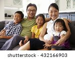 portrait of family sitting on... | Shutterstock . vector #432166903