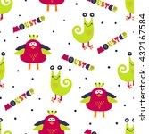 cute monsters seamless pattern. ... | Shutterstock .eps vector #432167584
