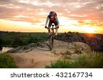 cyclist riding the bike down... | Shutterstock . vector #432167734