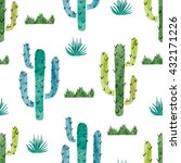 watercolor cactus seamless... | Shutterstock .eps vector #432171226