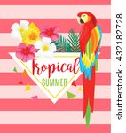 parrot  exotic flowers and... | Shutterstock .eps vector #432182728