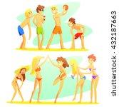 friends on beach holiday... | Shutterstock .eps vector #432187663