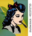retro young woman smocking joint | Shutterstock .eps vector #432191710