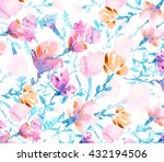 watercolors colorful flowers  | Shutterstock . vector #432194506