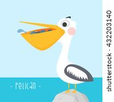 cute cartoon bird pelican... | Shutterstock .eps vector #432203140