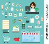 pharmacy vector infographic... | Shutterstock .eps vector #432203650