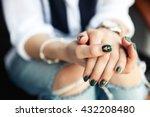 stylish girl sitting in torn...   Shutterstock . vector #432208480