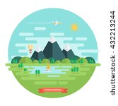 summer landscape. nature... | Shutterstock .eps vector #432213244