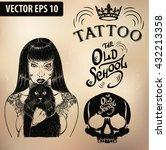 tattoo girl old school studio... | Shutterstock .eps vector #432213358