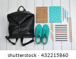 backpack and school supplies on ... | Shutterstock . vector #432215860