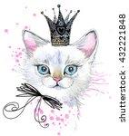 watercolor cat illustration for ... | Shutterstock . vector #432221848