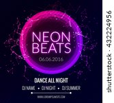 modern club music neon beats... | Shutterstock .eps vector #432224956
