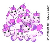 group of pink cute unicorns on... | Shutterstock .eps vector #432231304