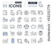 set vector line icons in flat... | Shutterstock .eps vector #432231778