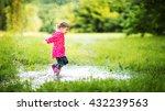 Happy Child Girl Running And...
