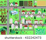urban landscape with houses ... | Shutterstock .eps vector #432242473