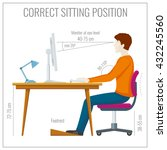 correct spine sitting posture... | Shutterstock .eps vector #432245560