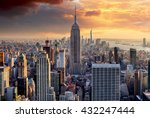New York Skyline At Sunset  Usa.