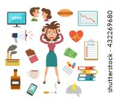 woman in stress and panic ... | Shutterstock .eps vector #432269680