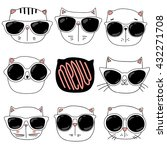 Stock vector cute cats in glasses illustration series 432271708