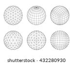 set of wireframe mesh spheres.... | Shutterstock .eps vector #432280930