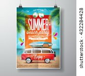 vector summer beach party flyer ... | Shutterstock .eps vector #432284428