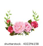 Floral Wreath With Pink Peony...