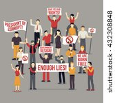 crowd protesting people... | Shutterstock .eps vector #432308848