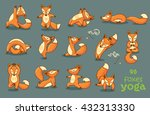 set of cartoon funny foxes... | Shutterstock .eps vector #432313330