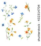 trendy isolated floral ditsy... | Shutterstock . vector #432314704