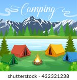 flat illustration camping. | Shutterstock . vector #432321238