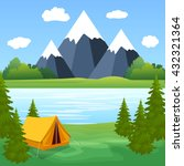 tent camping tourist forest... | Shutterstock . vector #432321364