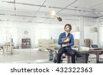 young man with book | Shutterstock . vector #432322363