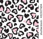 leopard seamless heart pattern... | Shutterstock .eps vector #432327604