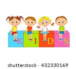 boys and girls sit on the cubes ... | Shutterstock .eps vector #432330169