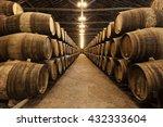 barrels in the wine cellar ...   Shutterstock . vector #432333604