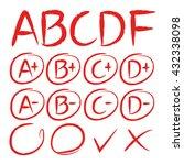 exam result icons  grade marks... | Shutterstock .eps vector #432338098