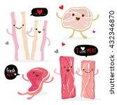 meat food eat beef pork bacon... | Shutterstock .eps vector #432346870