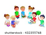 cute vector character child... | Shutterstock .eps vector #432355768