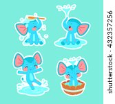 set of cute bathing and playing ... | Shutterstock .eps vector #432357256
