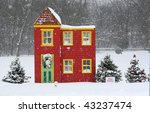 decorated playhouse and trees in park - stock photo