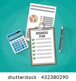 business plan document papers.... | Shutterstock .eps vector #432380290