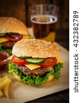 american burger and a glass of... | Shutterstock . vector #432382789