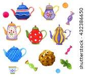 tea watercolor illustrations ... | Shutterstock . vector #432386650