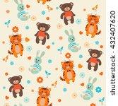 cute cartoon animals seamless... | Shutterstock .eps vector #432407620